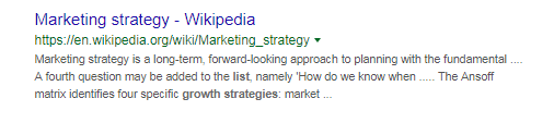 A marketing description