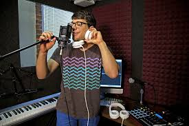 Man on studio microphone