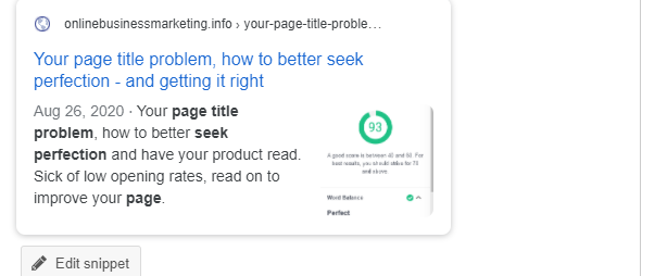 Your page title problem, how to better seek perfection