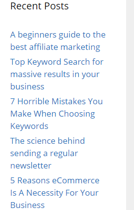 A list of posts for a website